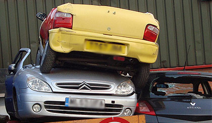 scrap cars collected and disposed of by mobile metals